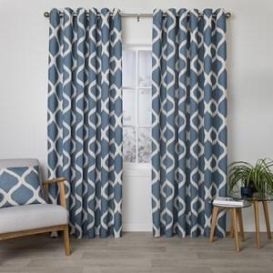Arlo Denim - Readymade Lined Eyelet Curtain