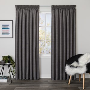 Bentley Steel - Readymade Thermal Pencil Pleat Curtain