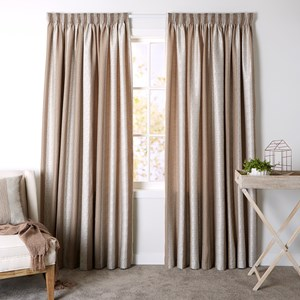 Clifton Latte - Readymade Lined Pencil Pleat Curtain
