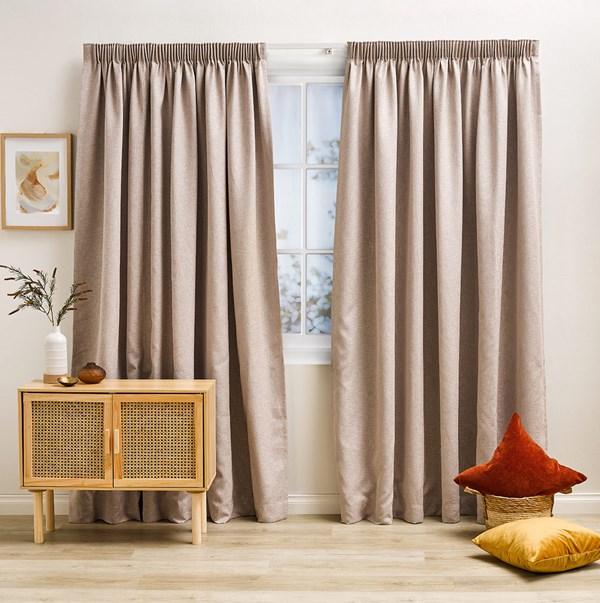 Franklin Sand - Readymade Triple-Weave Pencil Pleat Curtain