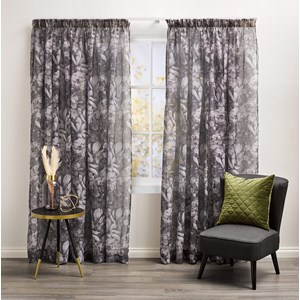 Harlow Charcoal - Readymade Sheer Pencil Pleat Curtain