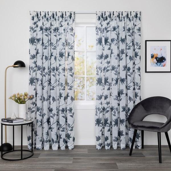 McKenzie Indigo - Readymade Sheer Pencil Pleat Curtain