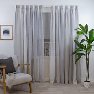 Mykonos Natural - Readymade Sheer Pencil Pleat Curtain