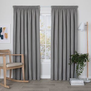 Oscar Pewter - Readymade Triple-Weave Pencil Pleat Curtain
