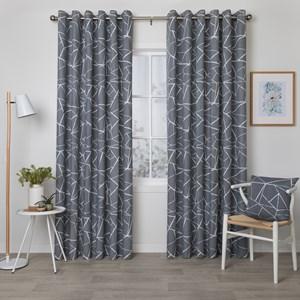 Porter Smoke - Readymade Lined Eyelet Curtain