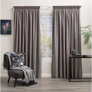 Aspen Slate - Readymade Lined Pencil Pleat Curtain