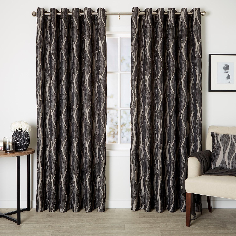 Astoria Steel - Readymade Lined Eyelet Curtain