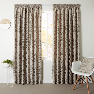 Bliss Pewter - Readymade Lined Pencil Pleat Curtain