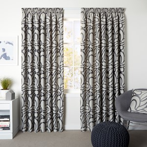 Bliss Steel - Readymade Lined Pencil Pleat Curtain