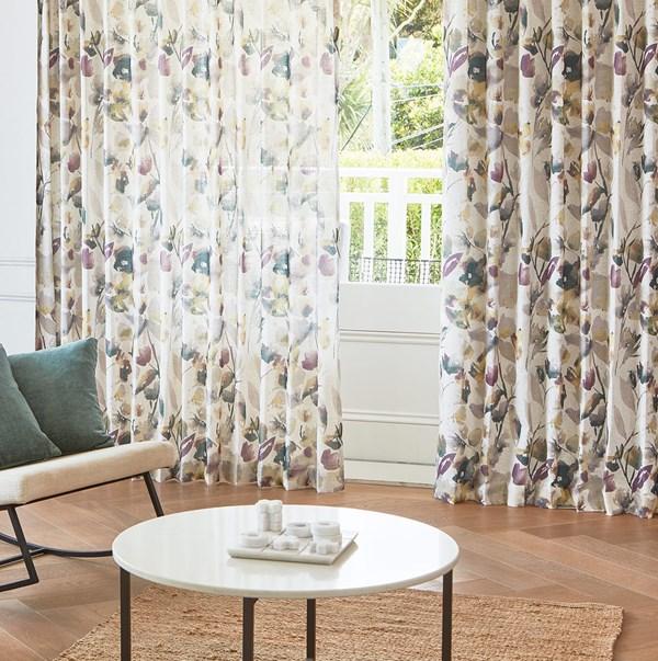Blossom Plum - Readymade Sheer Pencil Pleat Curtain