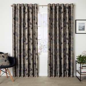 Bramley Driftwood - Readymade Lined Eyelet Curtain