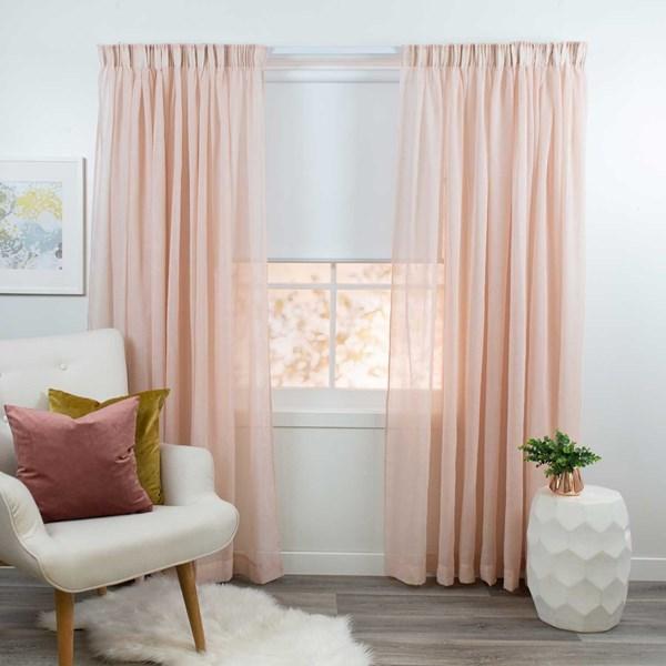 Breeze Blush - Readymade Sheer Pencil Pleat Curtain