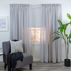 Breeze Stone - Readymade Sheer Pencil Pleat Curtain