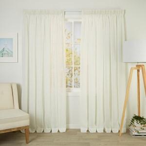 Calais Ivory - Readymade Sheer Pencil Pleat Curtain