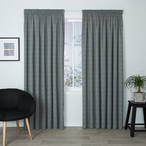 Eaton Slate - Readymade Thermal Pencil Pleat Curtain