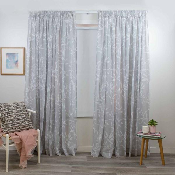Evie Smoke - Readymade Sheer Pencil Pleat Curtain