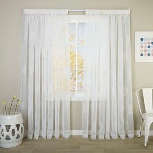 Saturn White - Readymade Sheer Pencil Pleat Curtain