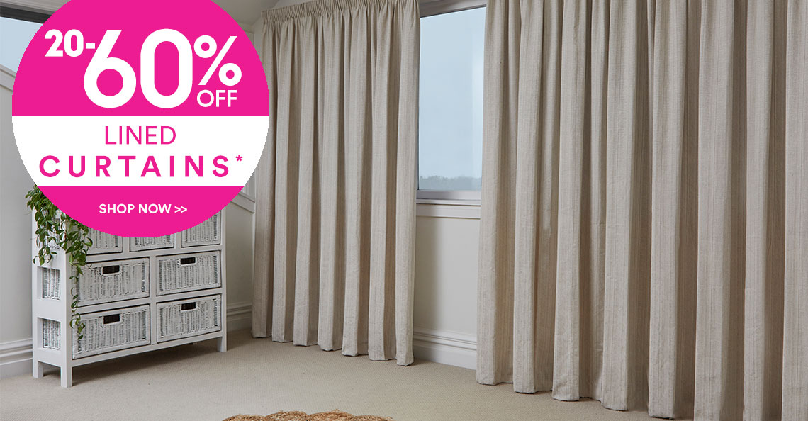 20-60% off Lined Curtains